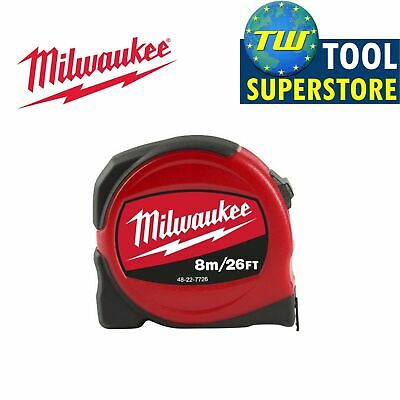 Milwaukee 8m/26ft Slimline Pro Compact Tape Measure – Imperial and Metric