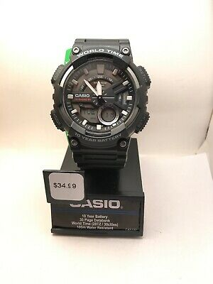 Casio Men's Ana-Digi Quartz 100m World Time Black Resin Watch AEQ110W-1AV-HZ