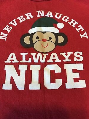 Old Navy Monkey Christmas Holiday Red Baby Bodysuit 12-18 months 'Always Nice'