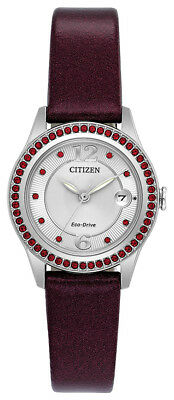 Citizen Eco-Drive Women's FE1121-05A Crystal Accent Red Leather 29mm Watch