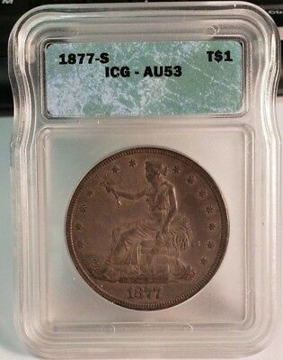 1877-S Trade Silver Dollar $1 ICG Certified AU53 - Nicely Toned Type Coin