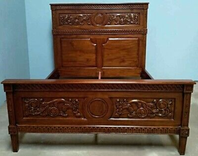 Mahogany Marie Albert Carved Antique Style 5' King Size French Bed