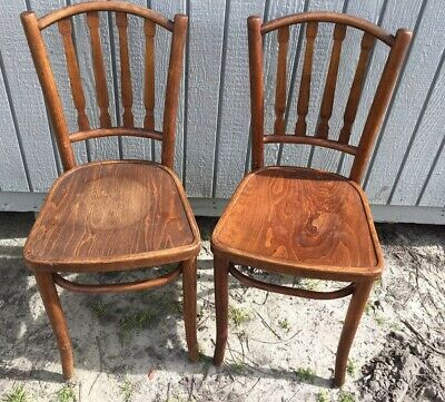 2 Antique Bentwood Ice Cream Parlor Chairs Bistro Cafe Made In Poland Original A