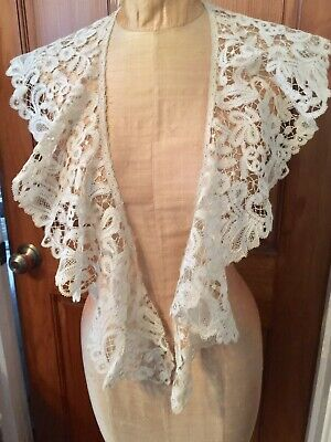 "Huge French Needle Lace Antique - LARGE 52"" By 6"" Collar Ornate Floral 1800's"