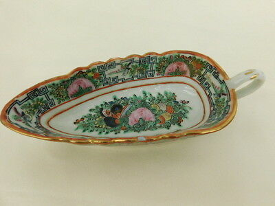 Chinese Canton Famille Rose China Leaf Bowl Handle Butterfly Medallion Antique