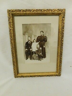 Antique Family Portrait Photograph Gilt Carved Ormolu Frame Family Of 4 Bw