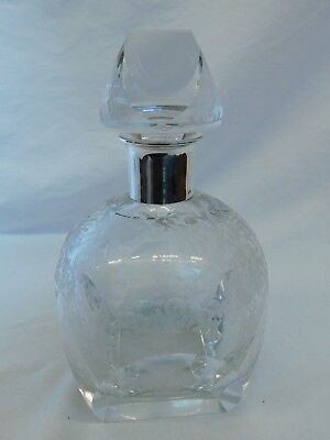 Crystal Cut Glass Decanter 925 Sterling Silver Neck 8'' 1940 Vintage Mid Century
