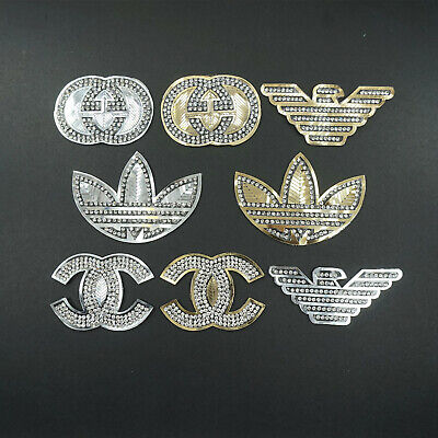 Iron on Gold Glass drill Patches Badges Apparel Clothing Patches Badges DIY