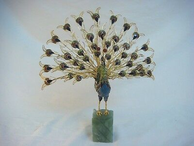 Peacock Cloisonne Sculpture Gold Tone Filigree Feathers Jade Green Base