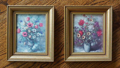 """Two Small (5.5"""" x 6.5"""") Antiqued Gold Finish, Wood Framed Floral Prints, EC!"""