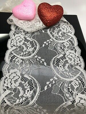 2 Yards. Off White Soft stretch elastic lace trim .DIY Projects,lingerie Lace