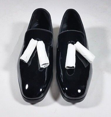 a3f28365d5b JIMMY CHOO Black Patent Leather Tassel Foxley Loafers Flats - size 43   10