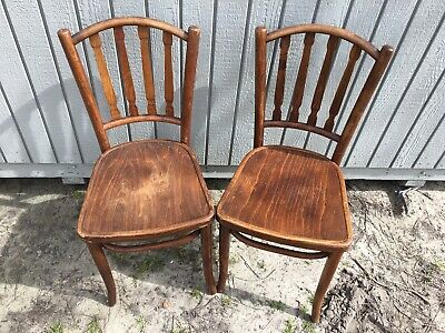 2 Antique Bentwood Ice Cream Parlor Chairs Bistro Cafe Made In Poland Original B
