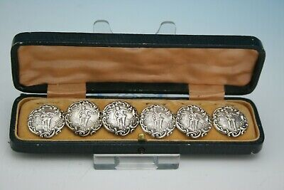 Antique Victorian Sterling Silver Set Of 6 Cased Buttons - Birmingham 1900