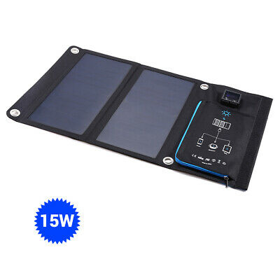 15W Solar Panel Charger Mobile Power Bank Dual Display USB Port for IOS Android