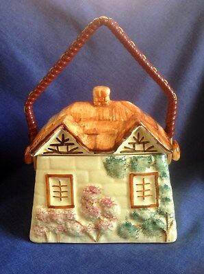 Vintage Paramount Pottery. Cottage Ware. Biscuit Barrel. Hand Painted.