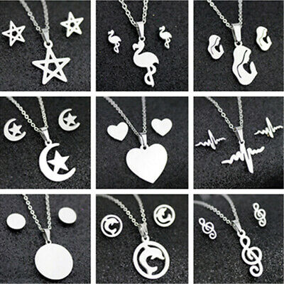 Fashion Stainless Steel Women Silver Jewelry Set Pendant Earrings Necklace Chain