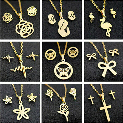 Fashion Stainless Steel Women Pendant Necklace Earrings Wedding Jewelry Set Gold