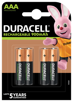 4 Pack Duracell AAA Rechargeable Batteries DURALOCK Pre/Stay Charged 900mAh