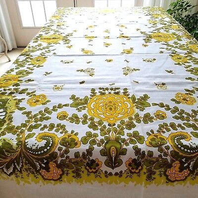 "Vintage RETRO Bright Yellow and Green Floral TABLECLOTH 50"" x 68"""