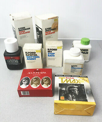 Job lot of ILford Paterson Kodak Photo processing developing Chemicals