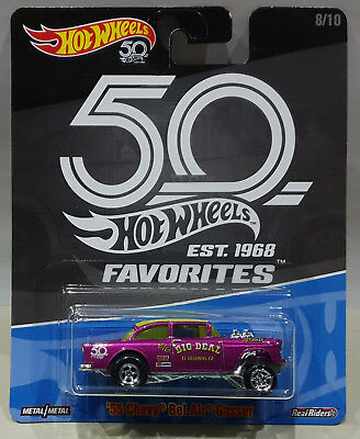 HOT WHEELS 2018 50th ANNIVERSARY FAVORITES `55 CHEVY BEL AIR GASSER FLF43