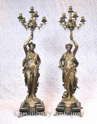 Pair French Bronze Candelabras - Signed Gregoire Torcheres 3 ft