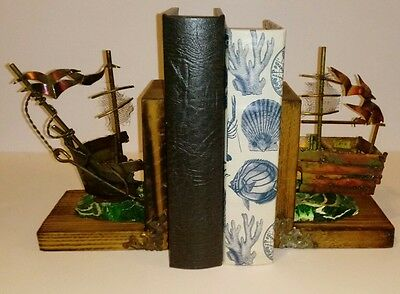Vintage Nautical Bookends Ship Boat Wood Metal Marine Library Book Holders