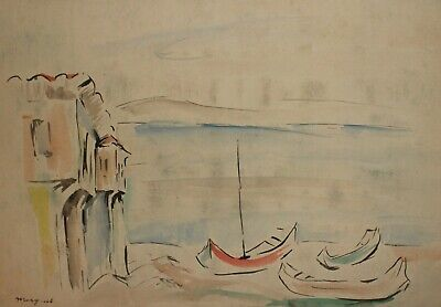 French art, Antique watercolor painting, Seascape landscape, signed Marquet