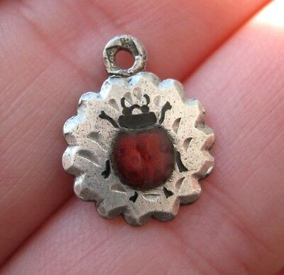 VINTAGE German Sterling Silver LADY BUG Enamel Bracelet Antique Charm