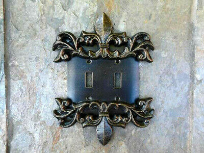Metal, Double, Switch Plate, Cover, Old World, Handmade, Medieval, Fleur de Lis