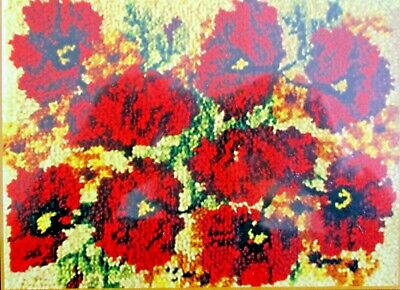 """Latch Hook  Rug  Kit  Floral Design """" Poppies"""" By Mcg Textiles"""