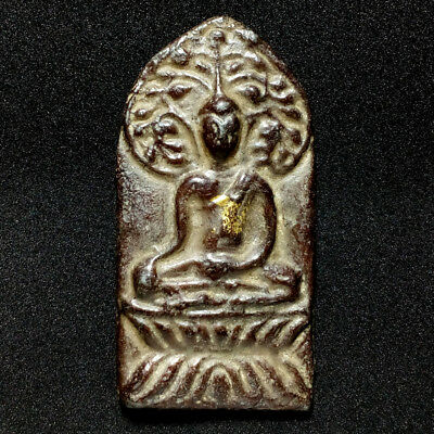 Old Lead Phra Prock Pho Chiang Saen Kru Ban Seaw Thai Buddha Amulet Luck protect