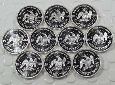 Vintage 1984 A-Mark Liberty Eagle Bell  1oz Silver Art Round Lot of 10 C0235