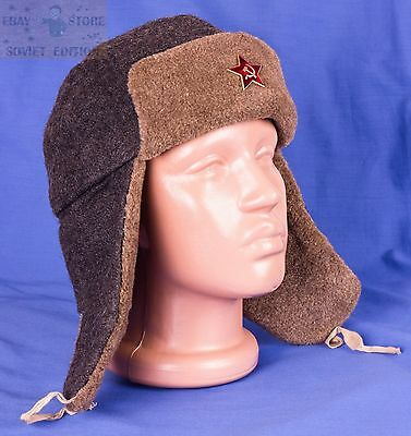 ff7ce763e RUSSIAN USHANKA ARMY Military Soviet USSR winter hat size 56 +RED STAR