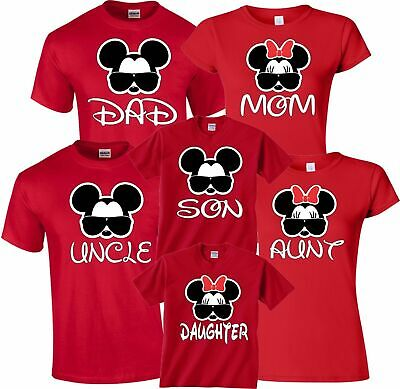 384c8eb10 Mom And Dad Family Mickey Minnie Head Disney Birthday Customized RED  T-Shirts