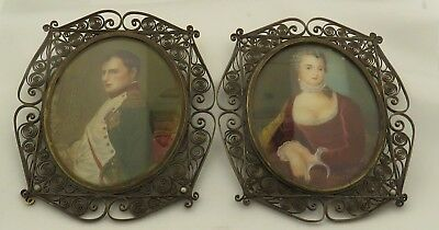 Antique Framed Bronze w/Scroll Work Hand Painted Miniatures Napoleon & Josephine