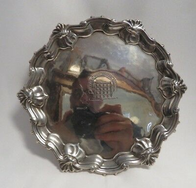 Antique English Hallmarked, Georgian Armorial Engraved Sterling Silver Tray.