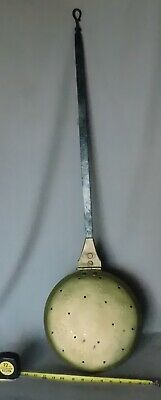 Antique brass bed warmer wrought iron handle engraved flower copper rivet 19TH C
