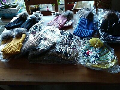 18 X Bobble Hats Job Lot Mixed Colours brand new
