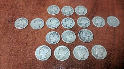 LOT OF 17 MERCURY DIMES 1916 1917 1918 1919 CIRCULATED & MIXED Free Shipping!!