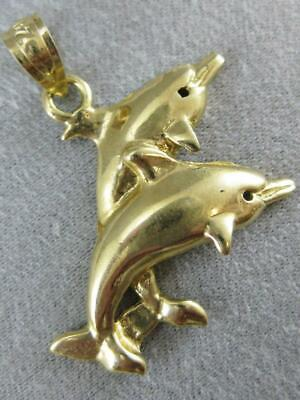 Estate Fancy Swimming Dolphins Fish 14K Yellow Gold Pendant Puff Charm #L1331.48