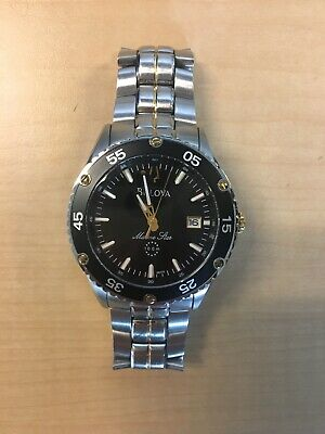 Men's Bulova Marine Star 98H35 Black Dial w/ 24kt Gold Accents