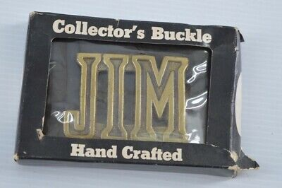 Vintage JIM Belt Buckle Personalized Gold Brass NOS New in Package