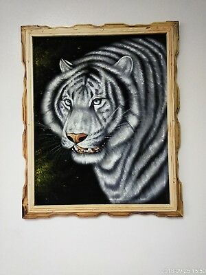 "WHITE TIGER FACE , Hand Painted ,VELVET PAINTING , 18"" BY 22"" W ,FRAME ,DECOR,#8"