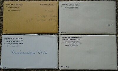 (4) Silver US Treasury Mint Sets 1each 1961 1962 1963 1964