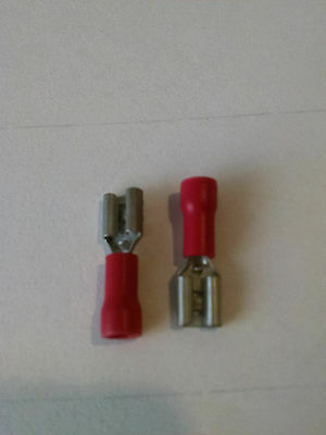 """Red Insulated Push On 0.2"""" Female Terminal,   Up To 18 GA Wire, 50 Pcs/Lot"""
