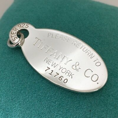 Please Return to Tiffany & Co Silver New York Oval Dog Tag Pendant Charm Large