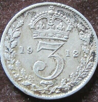 British - 1912  George V  Three Pence - Silver coin.