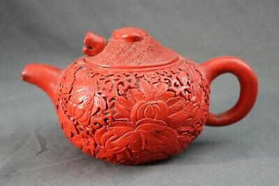 Antique Chinese Zisha Yixing Pottery Cinnabar Red Lacquer Carved Teapot